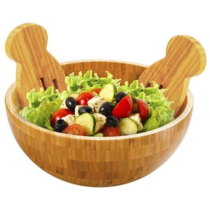 Bamboo Salad Bowl Round Durable Serving Bowl Natural Bamboo Dishware For Fruit Snacks Appetizers Kitchen Accessories Utensils