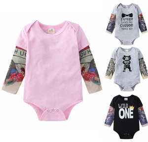 Toddler Baby Clothes Tattoo Printed Sleeve Boy Romper Flower Infant Girl Jumpsuits Children Hip Hop Rock Bodysuits Baby Clothing DW5362