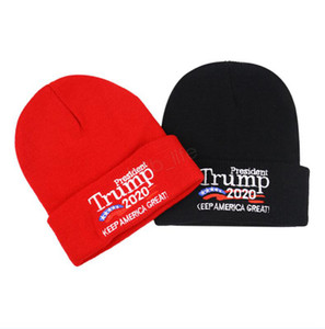 Trump 2020 President beanies Wool Knitted Cap Women Men USA Flag Letter Keep America Great Beanie knit Hat Winter Embroidery Cap LJJA3005