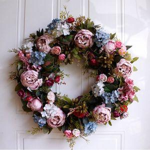 Hot Sale 22 polegadas Tamanho Grande Artificial Flower Wreath Para Porta Janela Parede de Natal Início Wedding Garden Decoration
