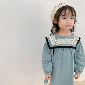 2019 Autumn New Arrival Korean style cotton long sleeve straight princess dress with lace collar for cute sweet baby girls