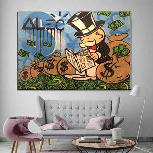 "Alec Monopoly Graffiti Handcraft Ölgemälde auf Leinwand, ""Wall Street"" Wohnkultur Wandkunst Malerei, 24 * 32 Zoll nicht gedehnt"