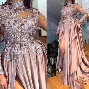 Árabe Aso Ebi apliques frisados mangas compridas Prom Dresses 2020 Sexy alta Neck Dusty rosa Chiffon formal Vestidos Partido Evening vestido de baile