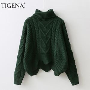 TIGENA Maglione dolcevita spesso spesso maglione dolcevita Maglione donna 2019 Maglione manica invernale a pipistrello invernale Pull femminile Femme verde rosa