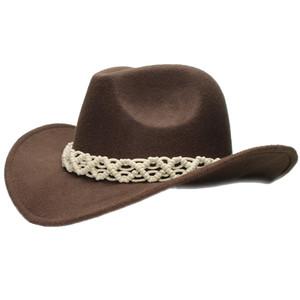 Retro Bianco Vuoto-fuori Knit banda genitore-figlio adulto unisex / lane del capretto tesa larga da cowboy Cappello Western Cowgirl Bowler Cap (57 centimetri / 54 centimetri