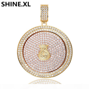 Iced Out Full Zircon Rotating Purse Round Pendant Necklace Copper Gold Silver Plated Men Hip Hop Jewelry Gift