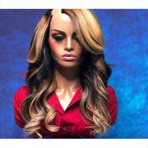 Brazilian 1x3 U Part Human Hair Wigs for Black Women Simbeauty 180Density Highlight Golden Brown U Part Wigs Remy Hair