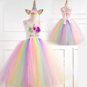 Crianças Meninas Princess Dress Unicorn Lantejoulas Lace malha vestido Tutu crianças Prom roupas Halloween Natal Girls Theme arco-íris vestido Dança 06