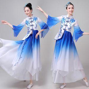 Atacado Mulheres Azul Branco Chinese Folk Dança Traje Fan Veil Yangko Adultos Clássica Dance Skirt 3XL