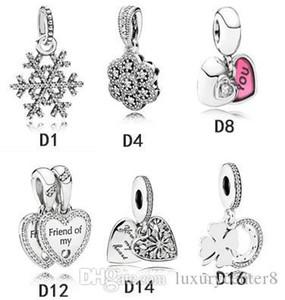 Autentici 925 perline argento ciondolo in Adatto Pandora Bracciale Charms colorate per Snake europea catena Necklace Fashion Jewelry fai da te