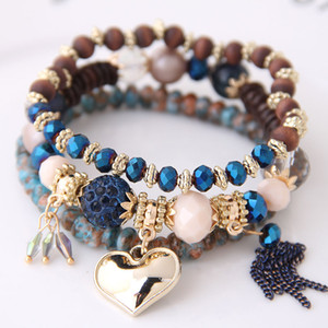 Böhmen Armbänder Armreifen für Frauen Schmuck Kristall Perlen Kette Gold Farbe Herz Bijoux Womens Multilayer Armbänder