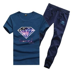 D894 Free shipping s-5xl new men Leisure hip hop T-Shirt and long pants Tracksuits o-neck Elastic waist