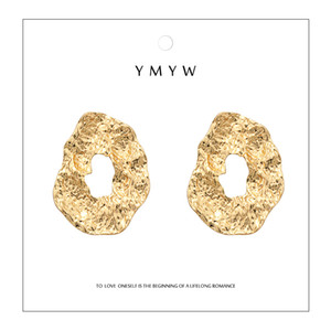 Partito delle donne semplice YMYW lega di zinco rotonda Orecchini Oro Colore irregolare Circle Punk Charms Dichiarazione Orecchini Voor Vrouwen