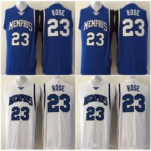 2.020 tigres Derrick Rose baloncesto de la universidad de New Derrick Rose # 23 Universidad cosido jerseys para hombre blanca del azul barato S-XXL