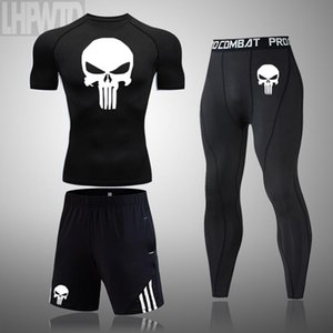 Men Skull Compression set MMA Short Sleeve T-shirt Men's Sport Tight Pants Fitness Bodybuilding Clothes Punisher Running Suit T200328