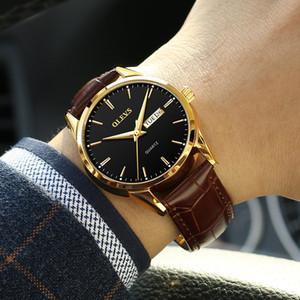 Olevs Mens Orologi Top Brand di lusso da polso al quarzo Reloj Hombre Fashion Casual Business Leather Men Watch Relogio Masculino Y19052103