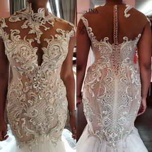 2020 exquis lourd Handwork sirène robes de mariée en perles de Cristal de cou Robes de mariée Robes De Novia Taille Plus Bouton couvert