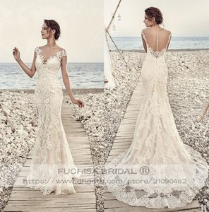 Cap Sleeved Champagne Lace Wedding Dress with Illusion Back Fit to Flare Slim Bridal Dress Gown Custom Made