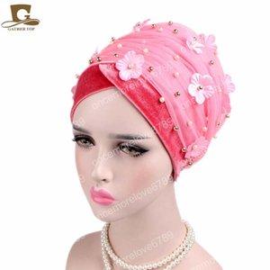 Nouvelle 3D fleur perles de femmes à long velours turban tête Wrap nigérian Turban tête de l'Afrique hijab Mesdames TURBANTE