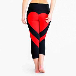2018 nuevas mujeres de aptitud de la manera polainas flacas de alta elástico de la cintura de los pantalones remiendo forma del corazón del estiramiento de las polainas calientes
