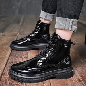Vendita-mens caldi casuali punk moto stivali di vernice abito nero pattini della piattaforma lace-up gentleman brogue stivaletto oxfords Bullock