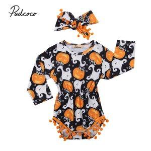 PUDCOCO 2017 Yeni Sıcak Yenidoğan Bebek Kız Romper + Kafa Tulum Giysileri Cadılar Bayramı Kostüm Yaz Bahar Kıyafetleri 0-24 M Y190515