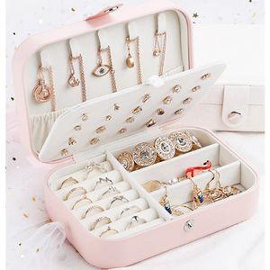 امرأة مجوهرات صندوق تخزين جلدية حالات السفر حلقة القرط القلائد التخزين هدية ماكياج المنظم صندوق مجوهرات LJJA3573