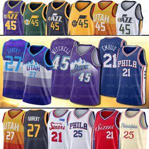 NCAA 45 Donovan Jazzs 21 Joel 27 Rudy Embiid Jersey Mitchell Allen Ben Gobert Simmons Basketball Jerseys