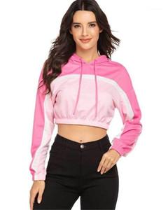 Allentato Mulit Colore Rosa Panelled Short Womens Hoodies casuali femmine Abbigliamento sexy progettista delle donne hoodies di modo