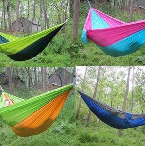 Doppel Leichtes Nylon Hammock Adult Camping im Freien Spielraum Überleben Gartenschaukel Jagd Schlafenbett Tragbare Hammock KKA7904N