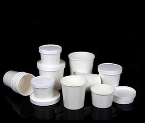 Белая круглая Одноразовая крафт бумага миски пищевой контейнер пойти ящик для ресторана Take Out поля обеда