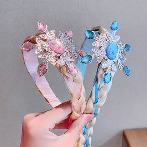 Mesh Lace Bowknot Crown Hair Bands For Children Wig Snowflake Rhinestones Hairbands Kids Bezel For Hair Girl Accessories