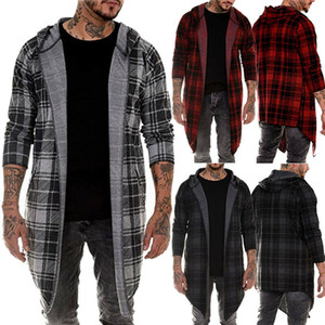 Men's Long Sleeve Slim Fit Hooded Tops Plaid Coat Jacket Casual Outwear Overcoat Factory Free Shipping