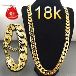 Banhado a ouro 18K Colar Pulseira Set 6 milímetros NK conjuntos cadeia de jóias para mulheres dos homens de Hip Hop colares Bangles Jóias Acessórios presente