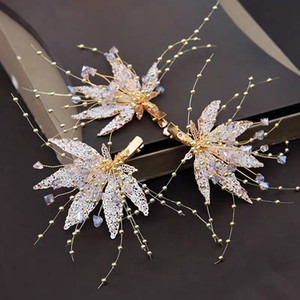 ins Super Fairy Bride Headdress Glitter Flower Gold Suit Side Clip Wedding Dress Wedding Accessories