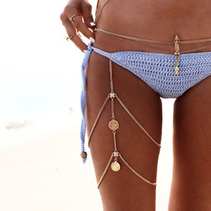 Summer femme Charm Water Drop Beads pendant Leg Tassel Chain women Silver fashion body chain sexy bohemian jewelry