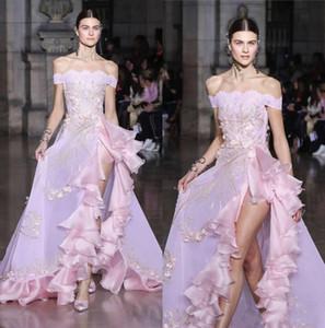 2020 Sexy Hobeika Haute fendus New Robes de bal de l'épaule Ruffles Party Maxi robe Une ligne robe de soirée