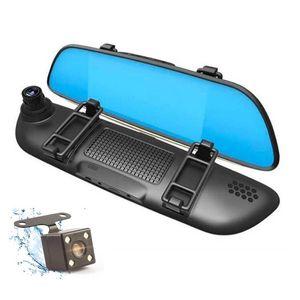 7 Kapazitive Touch Panel Auto Dvr Kamera-Rückspiegel Recorder Fahrzeugdaten Camcorder 2-Kanal-Doppelobjektiv vorne 170 ° hinten 120 ° Weitsichtwinkel