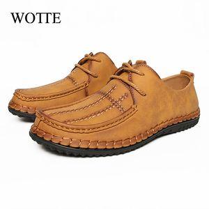 Wotte Männer PUleather Schuhe Sommer-beiläufige Mens Loafers Lace up Fahren Schuhe Mann Bequeme Big Size 38-48 zapatilla hombre