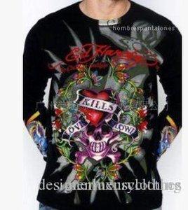 ED strass Designer imprimé fleurs Tops manches longues HAR DY Mens COOL T-shirts Printemps Automne talonnage