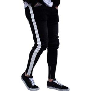 Schwarze Jeans-Mann-beiläufige Streifen Hosen Biker zerrissene dünne Jeans ausgefranste Slim Fit Jeans-Hosen-Hose Kleidung Bleistift-Hosen
