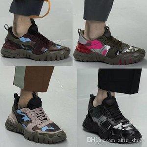 Remiendo de la manera Rockrunner camuflaje zapatillas de deporte Escaladores de cuero genuino zapatos de plataforma de la vendimia Hombres Mujeres zapatilla de deporte de 8 colores Operando Formadores