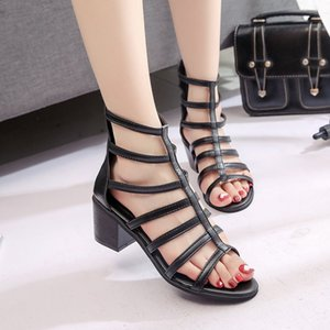 Summer Europe and America Women Sandals Black High Heels Fashion Sexy Roma Ladies Sandals Hollow Summer Sandals