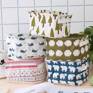 Algodón fresco de dibujos animados y de mano de lino de la correa de escritorio Artículos diversos cesta Recepción de la caja, gabinete, ropa y tela que recibe la cesta