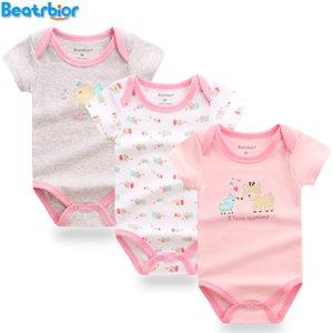 Kız Bodysuit Yenidoğan Giysileri Kostüm Prited Kısa Kollu Pamuklu Bebek Bodysuits Vücut Bebes Giyim Q190520