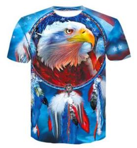 hot 2019 negozio online di formazione Nuovo 3D USA di colore stella lettera bandiera americana degli uomini stampati di moda T-shirt manica corta casuale abbigliamento sciolto