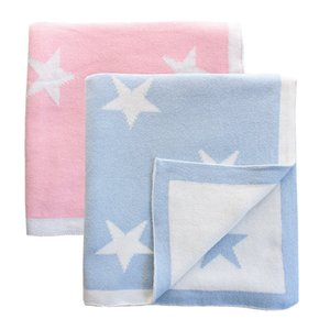 2 layers reversible super soft Cotton knitted blue star Baby Blanket kids back seat cover sofa throw blanket baby stroller cover CX200704