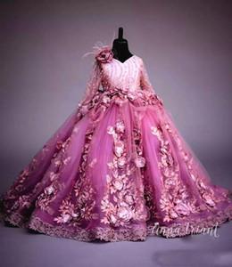 Luxe perles robes fille fleur manches longues fleurs à la main filles Pageant Robes magnifiques dentelle Applique Puffy Tulle Robes de bal