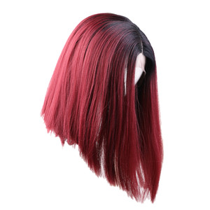 14'' Lace Front Short Straight Wigs Natural Synthetic Side Part Wig Wine Red