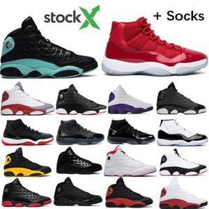 isla verde 13s 13 Lakers criados cap chicago zapatos hombres mujeres baloncesto y vestido 11 11s Concord zapatillas de deporte para hombre de plata metálico con la caja